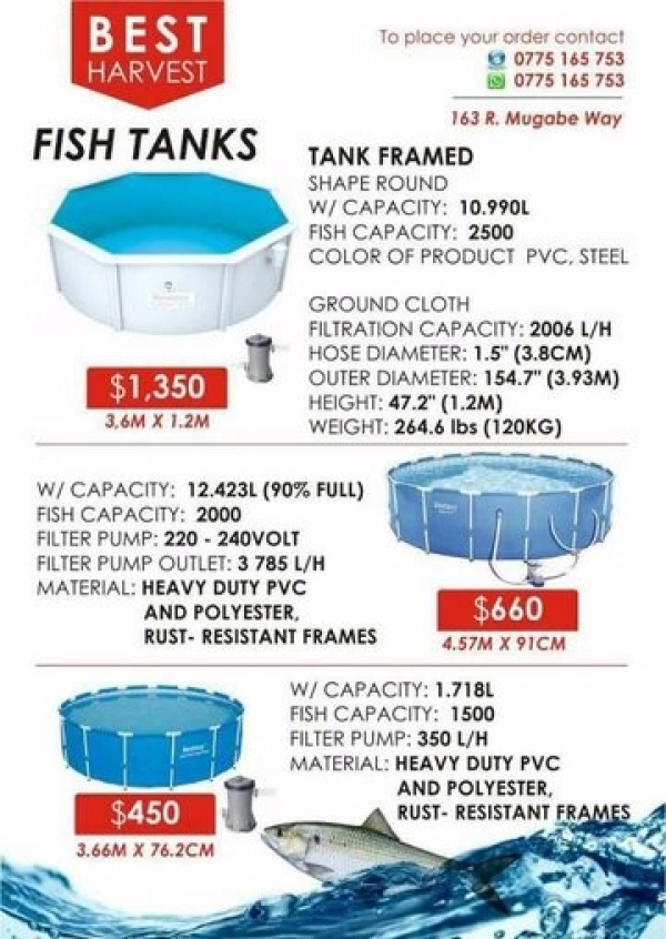 Fish Farming Tanks for sale - Fishery Equipment - Harare - Zimbabwe
